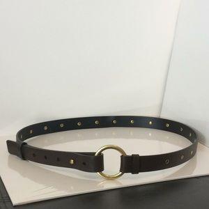 CAbi Ring Belt Dark Brown Leather Studded Sz Large